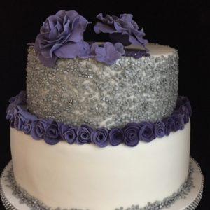 taart paars zilver wit