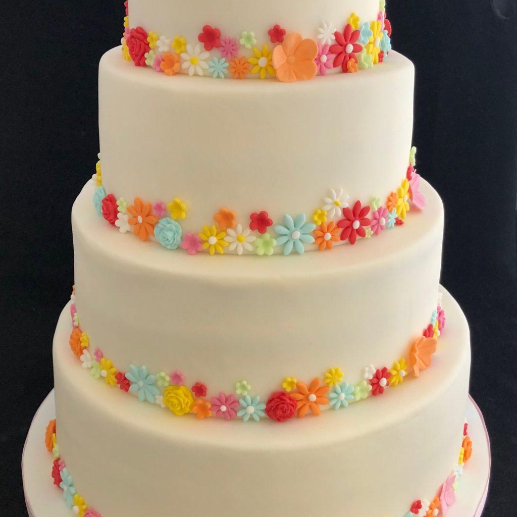 Gekleurde Bloemen bruidstaart