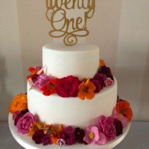 Eetbare bloemen taart