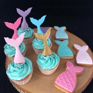 Zeemeermincupcakes en koekjes