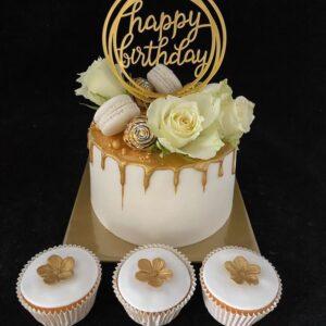 Verjaardagstaart Wit-Goud