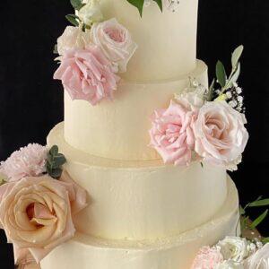 Bruidstaart echte bloemen